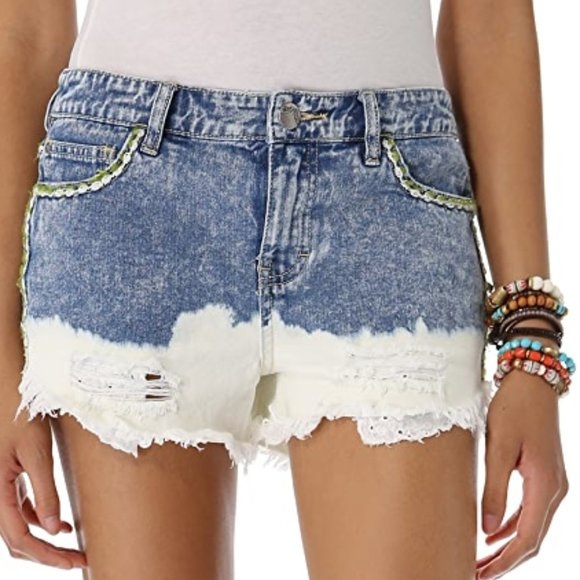 Free People Embroidered Bleach Dipped Jean Shorts